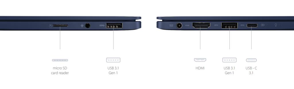 ASU ZenBook UX331 thin and light laptop ports