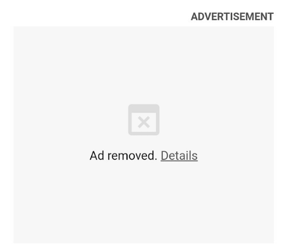 Google Chrome will automatically block ads, This is what a blocked heavy ad will look like.
