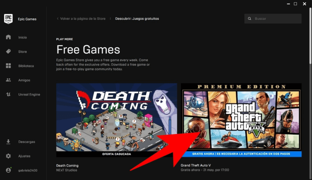 the Free games section and click on GTA V for Free