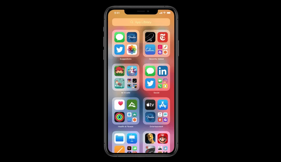 Apple launches at WWDC 2020 - App Library of the new iOS 14