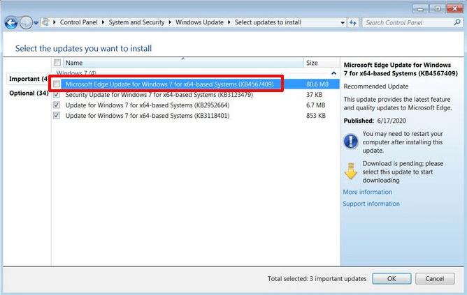 Chromium-based Microsoft Edge arrives on Windows 7 via Windows Update