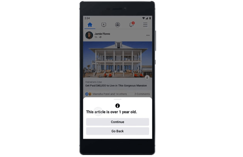 Facebook will alert users who share old news