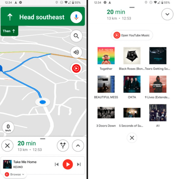 Google Maps receives media controls from YouTube Music