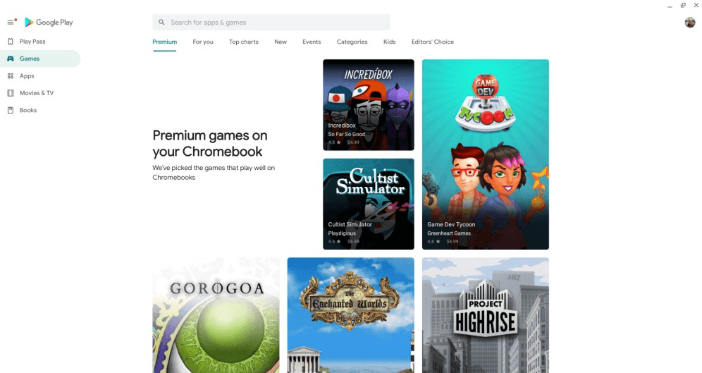 Google Play Store starts showing Premium- section of games optimized for chromebooks