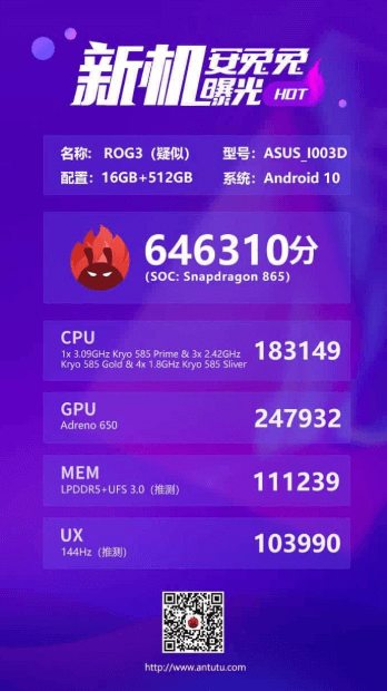 ROG Phone 3 appears in benchmark and breaks performance record