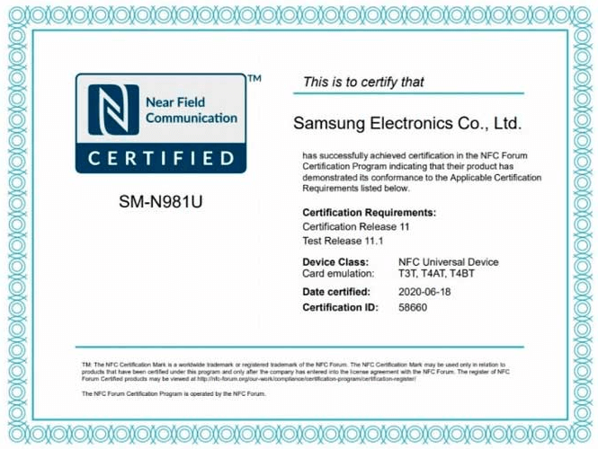 Samsung Galaxy Note 20 receives certification at the NFC Forum