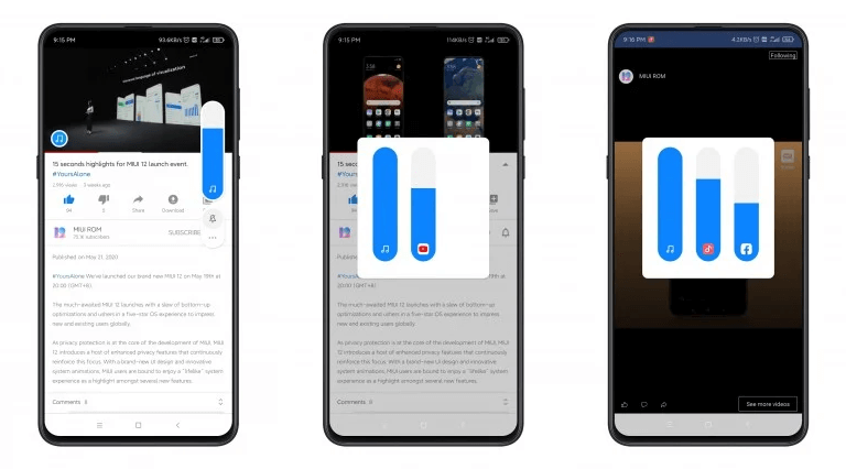 MIUI 12 now allows you to control the volume of each application