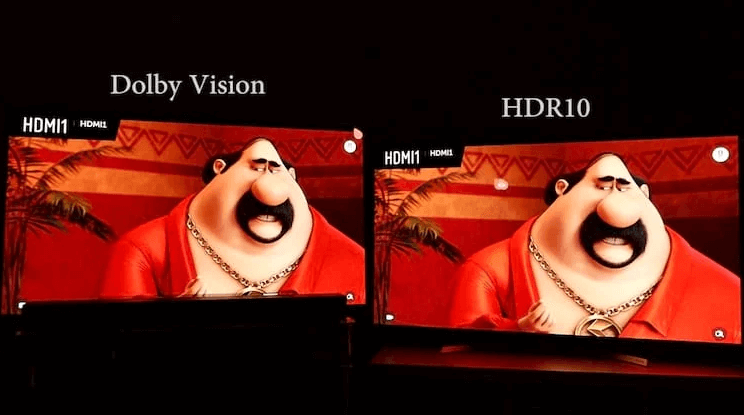 Note that the characters cheek has a more natural appearance in the Dolby Vision image, but it is a barely noticeable detail compared to the HDR10