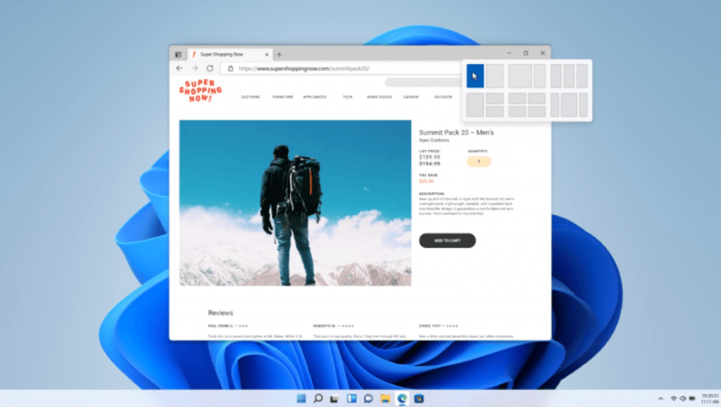 windows 11 new features - Snap Layouts