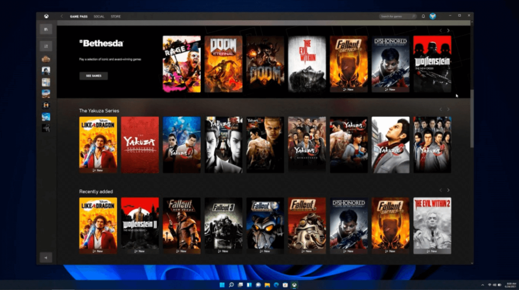windows 11 new features -Xbox Game Pass running natively on Windows 11