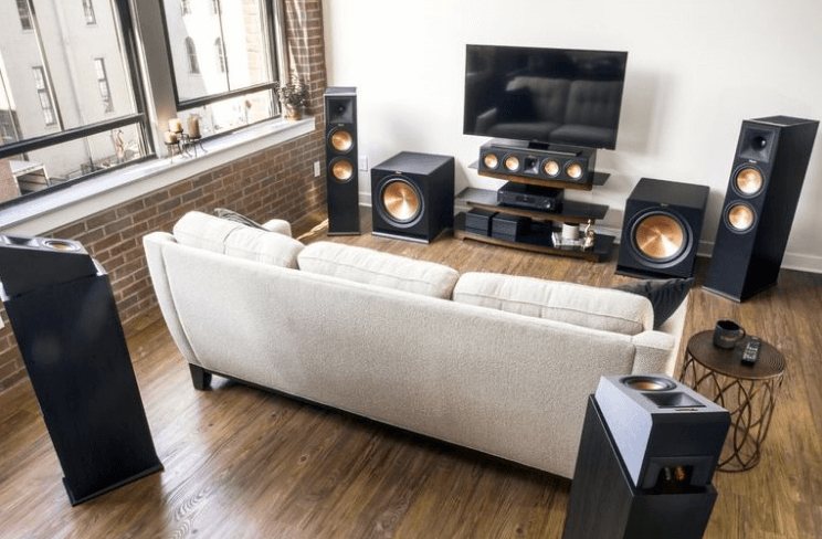 Multi-channel surround sound on headphones [headphone basics] - Klipsch multichannel box system withDolby Atmos